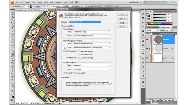 Loading the CS4 color settings in Illustrator: Illustrator CS4 One-on-One: Mastery