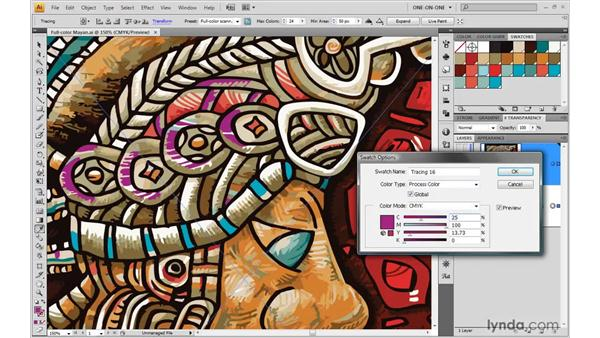 Editing Live Trace-captured color swatches: Illustrator CS4 One-on-One: Mastery