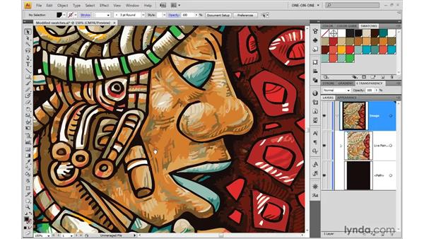 Recoloring traced details in Live Paint: Illustrator CS4 One-on-One: Mastery