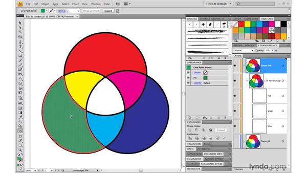 Using the Live Paint selection tool: Illustrator CS4 One-on-One: Mastery