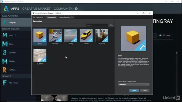Using the Project Manager and templates: Learn Autodesk Stingray