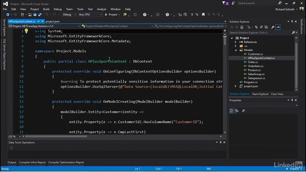 Scaffolding an initial model and context: Accessing Existing Databases with Entity Framework Core