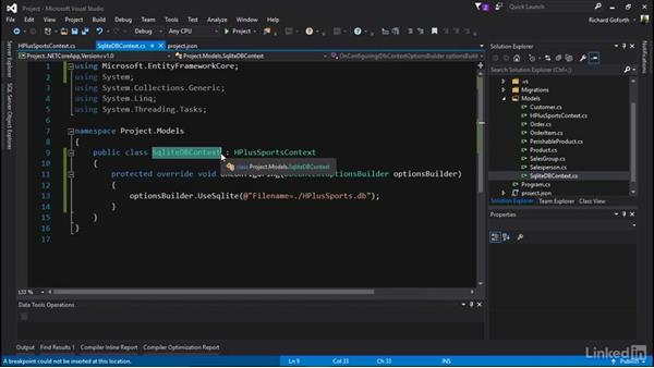 Create a SQLite database: Accessing Existing Databases with Entity Framework Core