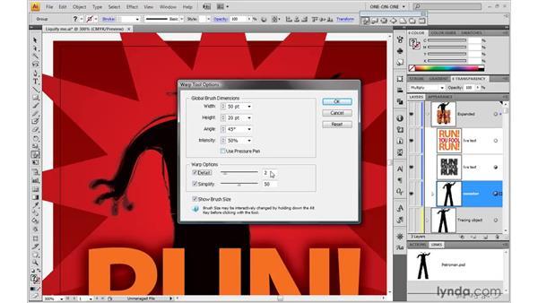 Changing the Liquify Brush settings: Illustrator CS4 One-on-One: Mastery