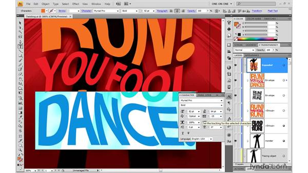 Editing enveloped text: Illustrator CS4 One-on-One: Mastery