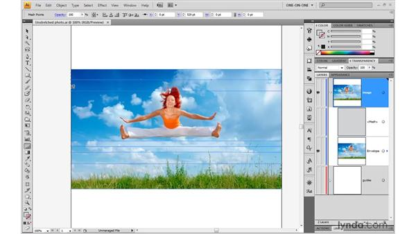 Stretching an embedded photo: Illustrator CS4 One-on-One: Mastery