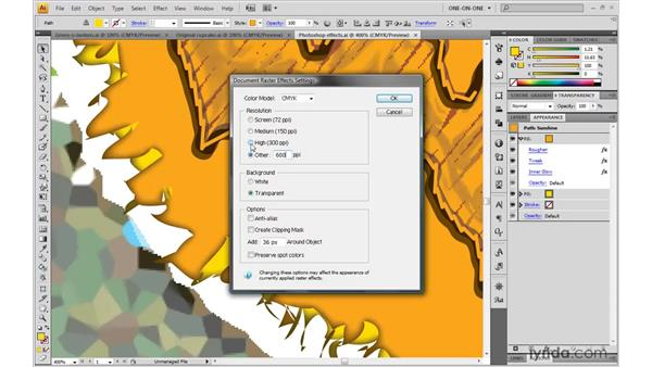 Adjusting an effect's resolution: Illustrator CS4 One-on-One: Mastery