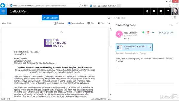View or edit Office documents while replying: Outlook.com Essential Training (2016)