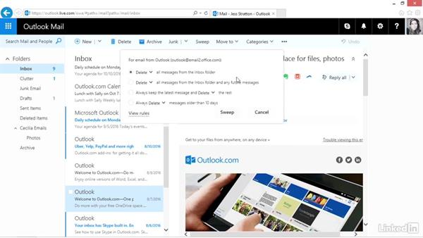 Sweep and work with Clutter: Outlook.com Essential Training (2016)