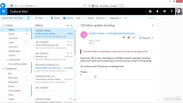 Create rules for processing mail: Outlook.com Essential Training (2016)