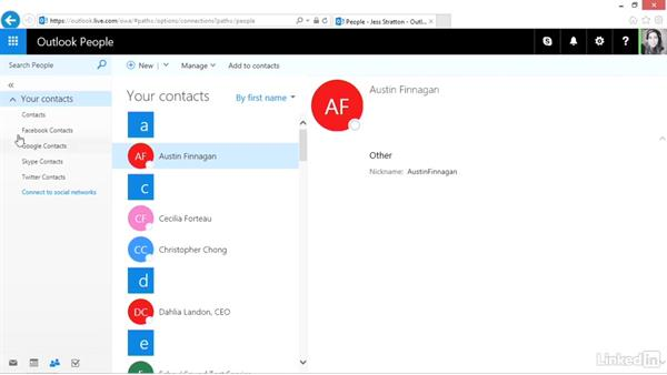 Access and navigate your contacts: Outlook.com Essential Training (2016)