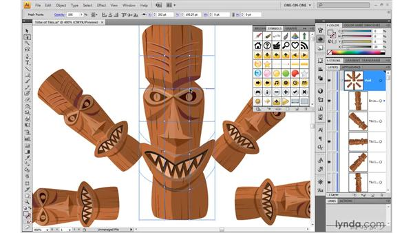 Warping, recoloring, and updating a symbol: Illustrator CS4 One-on-One: Mastery