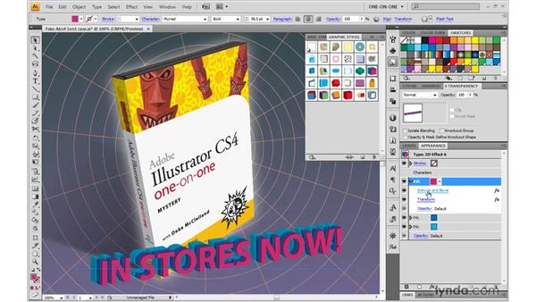 Creating 3D type: Illustrator CS4 One-on-One: Mastery