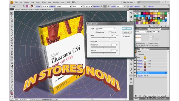 Bending 3D type with a dynamic Warp effect: Illustrator CS4 One-on-One: Mastery