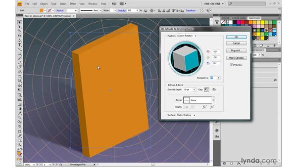 Extrude, perspective, depth, and bevel: Illustrator CS4 One-on-One: Mastery