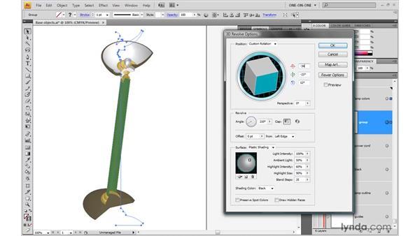 Applying the 3D Revolve effect: Illustrator CS4 One-on-One: Mastery