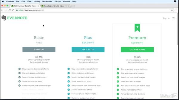 Compare versions of Evernote: Evernote for Students