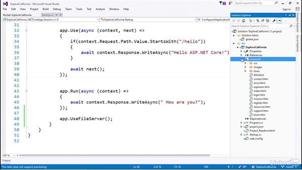 Serve static files: Learn ASP.NET Core MVC: The Basics