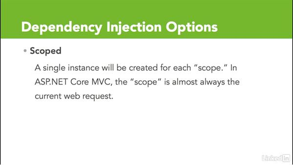 Increase maintainablility with dependency injection: Learn ASP.NET Core MVC: The Basics