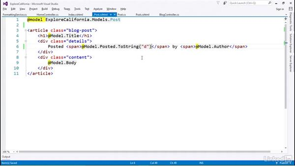 Reuse view logic with injectable services: Learn ASP.NET Core MVC: The Basics
