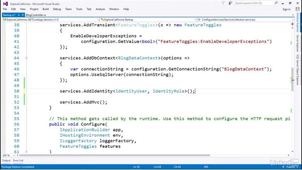 Add identity services to your application: Learn ASP.NET Core MVC: The Basics