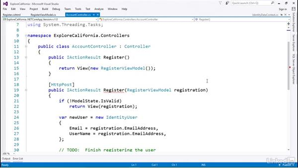 Use identity services to create user accounts: Learn ASP.NET Core MVC: The Basics