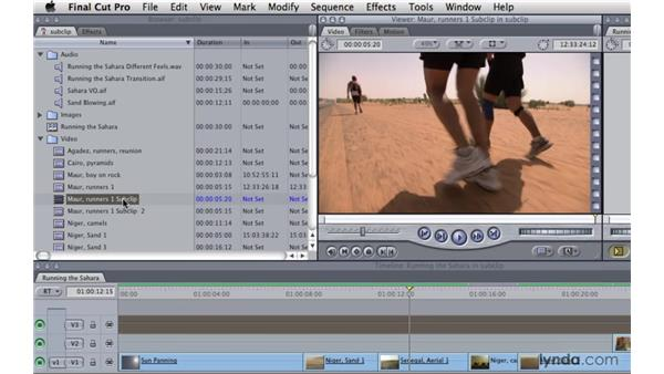 Creating subclips: Final Cut Pro 7 Essential Training