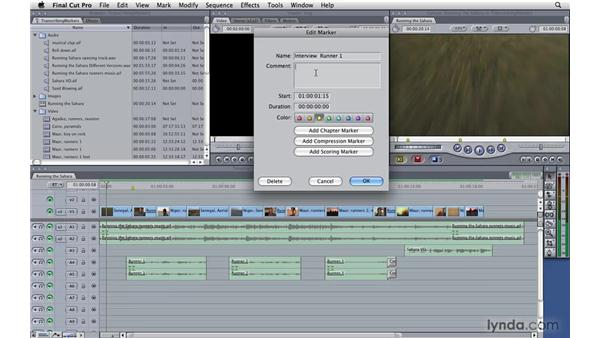 Transcribing using markers: Final Cut Pro 7 Essential Training