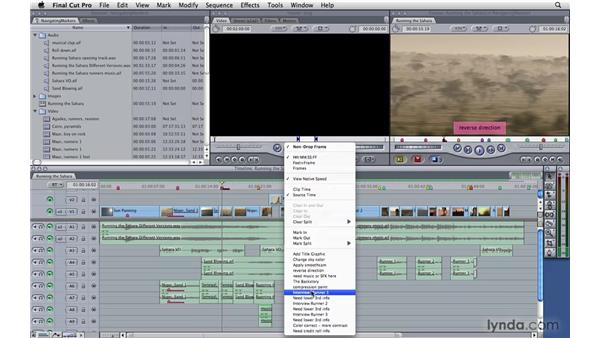 Navigating to markers: Final Cut Pro 7 Essential Training