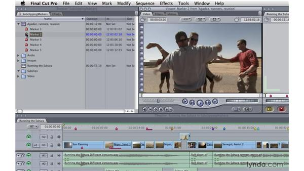 Subclipping using markers: Final Cut Pro 7 Essential Training
