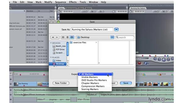 Exporting markers: Final Cut Pro 7 Essential Training