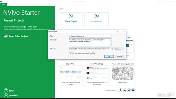 Create a new project: Learn NVivo: The Basics