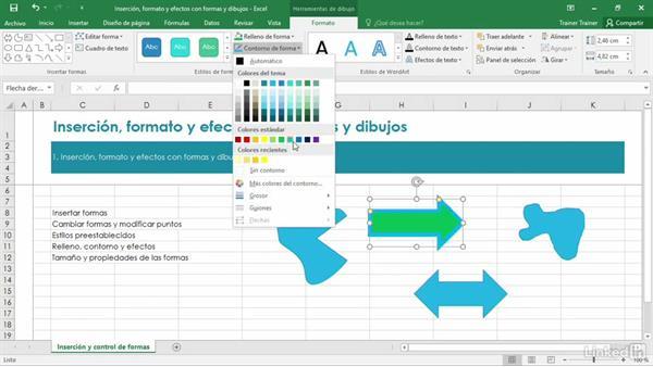 Formato y efectos de formas y dibujos insertados en Excel