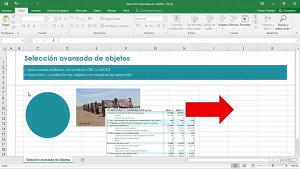 Selección avanzada de objetos en Excel 2016