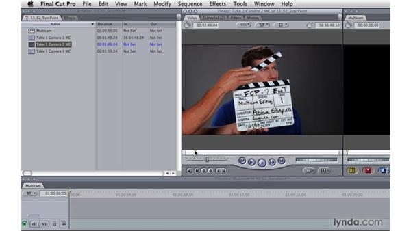 Creating a multicam clip using sync points: Final Cut Pro 7 Essential Training