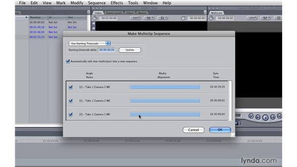Creating a multicam clip with timecode: Final Cut Pro 7 Essential Training