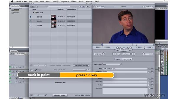 The Log and Transfer window: Final Cut Pro 7 Essential Training