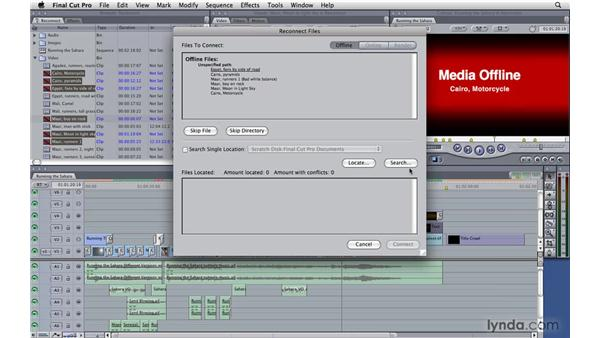 Reconnecting media: Final Cut Pro 7 Essential Training