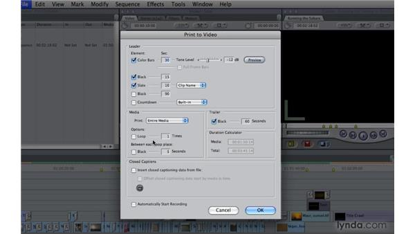 Printing to video: Final Cut Pro 7 Essential Training