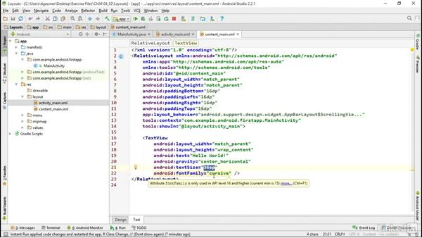 Implement designs in XML layouts: Android App Development Essentials: Create Your First App