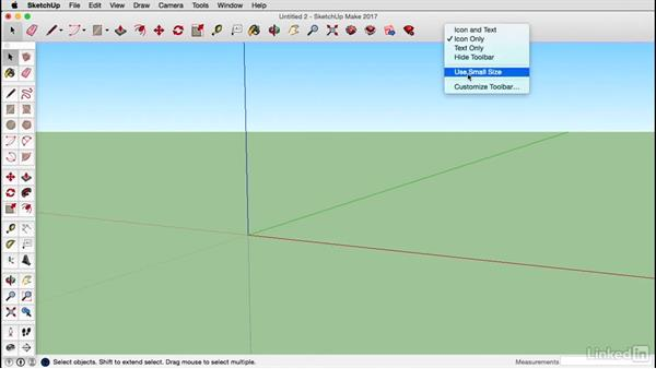 Configure toolbars: Mac: SketchUp 2017 Essential Training