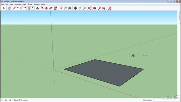 Use the Rectangle tool: SketchUp 2017 Essential Training