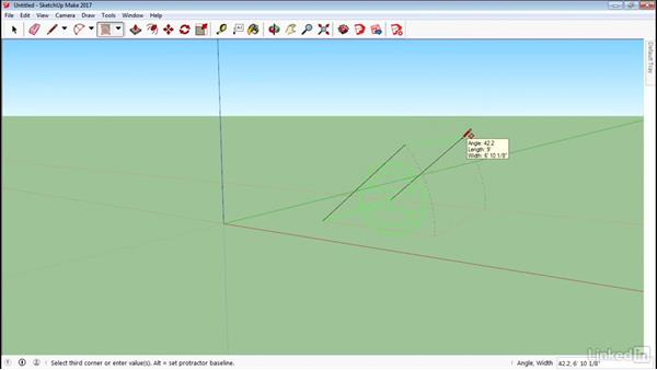 Create rotated rectangles: SketchUp 2017 Essential Training