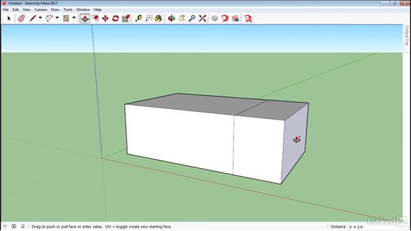 Push and pull faces in 3D: SketchUp 2017 Essential Training
