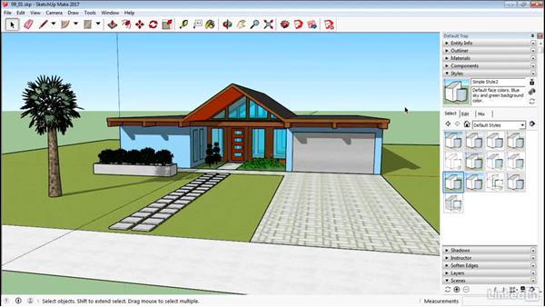 Apply styles: SketchUp 2017 Essential Training