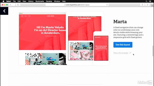 Choosing a layout for your site: Adobe Portfolio First Look