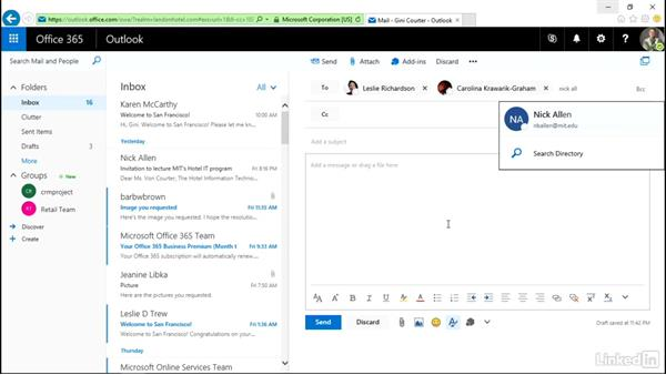 Create a message: Outlook on the web Essential Training