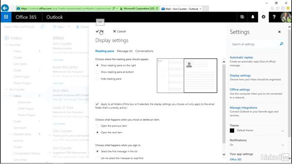Modify general and email settings: Outlook on the web Essential Training