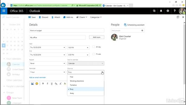 Create and edit an appointment or event: Outlook on the web Essential Training