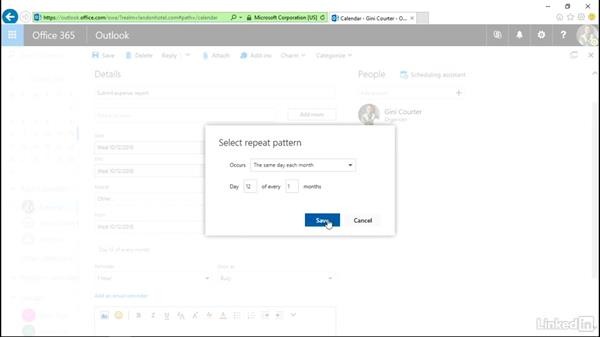 Create or modify a repeating appointment: Outlook on the web Essential Training